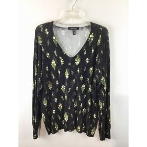 ellen tracy floral print long sleeves sweater